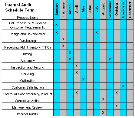 Internal Audit Schedule - Audit program template