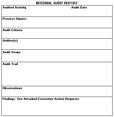internal audit report form